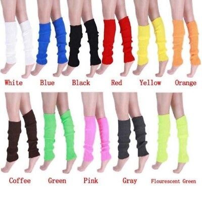 1 Pair Winter Warmer Knit Crochet Neon High Knee Leg Warmers Boot Slouch L