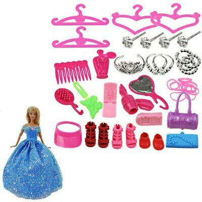 42pc/Set Doll Accessories For Barbie Doll Clothing Dresses Shoes Hangers Toy