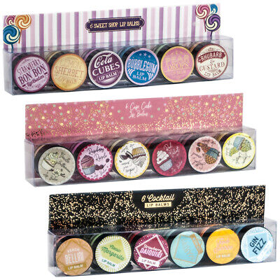 Pack of 6 Cocktail, Cupcake or Sweet Shop Flavour Lip Balm Balms Gift Set