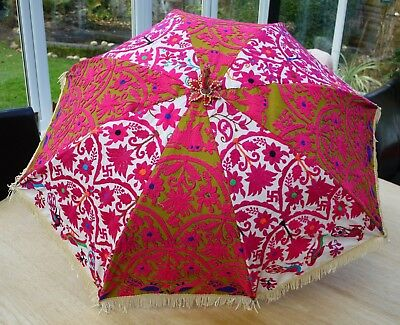 Indian Cotton Parasol - Embroidered Colourful Umbrella - 40""