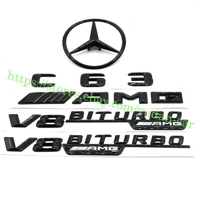Mercedes-Benz C Class W205 4DR GLOSS BLACK Rear Badge Set C63/AMG/STAR/V8BITURBO