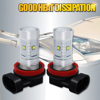 6000K Super White H8 Fog Light LED 30W Replacement Driving Projector DRL Bulbs