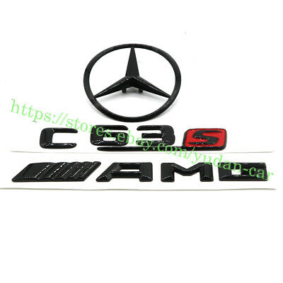 Mercedes Benz C-Class W205 4DR GLOSS BLACK Rear Star Badge Emblem C63 S/AMG/Star