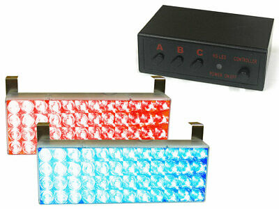 2 Stroboscope A Led Rouge Et Bleu Avec Central De Commande + Differents Modes