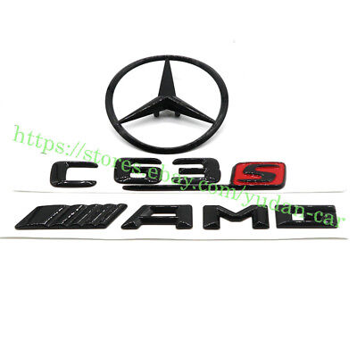 "Gloss Black ""AMG C63S/Star"" Badge Sticker for Mercedes-Benz C class W205 4DR 14+"