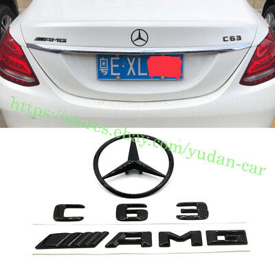 Mercedes-Benz C Class W205 GLOSS BLACK Rear Star Badge Emblem C63/AMG/Star 4 DR