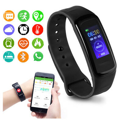 IP67 Wasserdicht Smartwatch Bluetooth Sport Armband Fitness Tracker Blutdruck DE