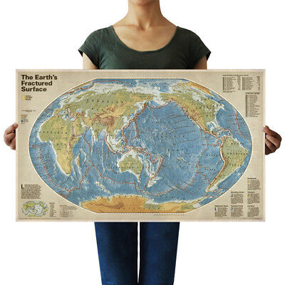 US Seller- The Earths Fractured Surface Map anitque poster kitchen wall decor