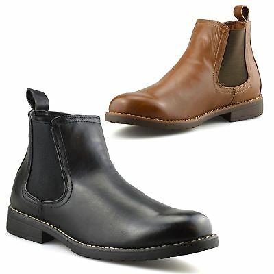 Mens Chelsea Ankle Boots Memory Foam Casual Smart Formal Dealer Work Shoes Size