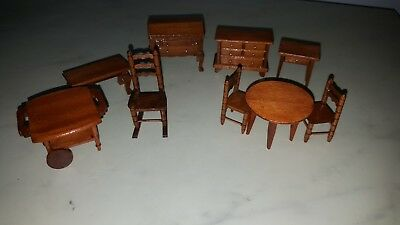 Vintage 24Th Scale Dolls House Furniture  Wooden 9 Items Drawers Chairs Tables
