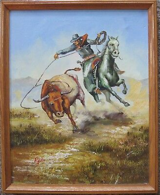 Ryder Signed Western Cowboy Original Oil Painting On Canvas