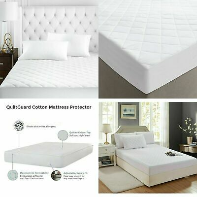 100% Egyptian Cotton Extra Deep 40cm Quilted Mattress Protector Pillowcase Cover