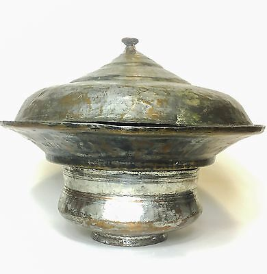 Islamic Arabic Tinned Copper Ottoman Pot Tray Lid Signed Persian