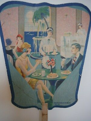Vintage Hand Fan U.s.a. Ohio Advertising Delectable Sweets Art Deco Style V.g.c.