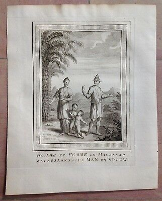 Indonesia Sulawesi Macassar 1749 By Bellin / Van Schley Antique Engraved View