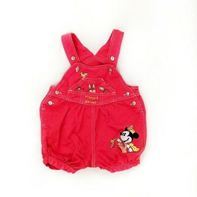 Mickey & Co Vintage Red Minnie Mouse Infant Girl Garden Overalls 6-9 Months