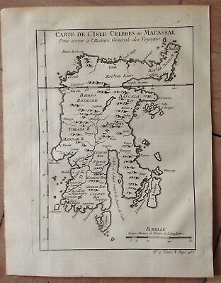 Indonesia Celebes Island (Sulawesi) 1750 Nicolas Bellin Antique Engraved Map