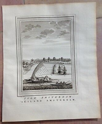 Amsterdam Island 1749 By Bellin / Van Schley Antique Engraved View 18Th Century