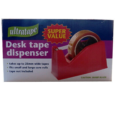 Desk Tape Dispenser - Takes up to 25mm Wide Tapes - Small and Large Core Rolls