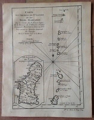 Mariana Islands Dated 1752 Nicolas Bellin Antique Engraved Map 18Th Century