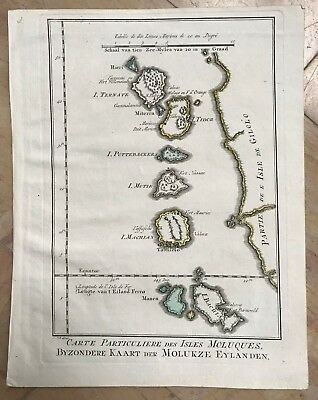 MOLUCCAS 1750 BY BELLIN - VAN SCHLEY ANTIQUE ENGRAVED MAP 18e CENTURY