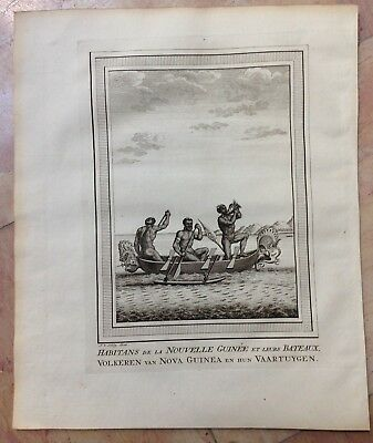 New Guinea People 1749 By Bellin / Van Schley Antique Copper Engraved View