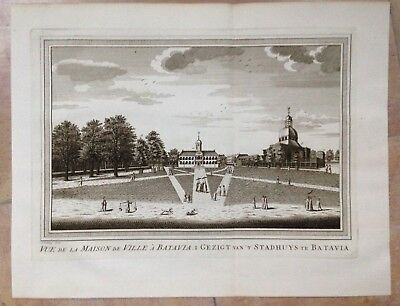 Batavia Town Hall (Java) 1750 By Bellin-Van Schley Antique Engraved View 18Th C.