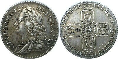 1757 Great Britain George II Silver 6 Pence KM# 582.2 Extra Fine