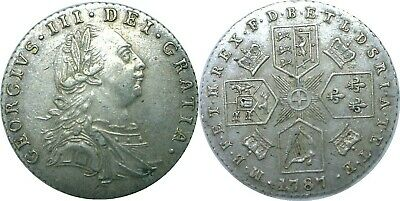 1787 Great Britain George III Silver 6 Pence KM# 606.1 No Hearts Extra Fine