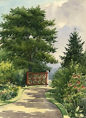 Garden Gate, The Towers,Windlesham, Surrey - Early 20th-century watercolour