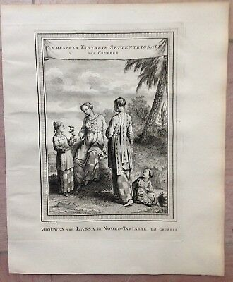 TIBET WOMEN OF LASSA 1749 BELLIN-SCHLEY ANTIQUE COPPER ENGRAVED VIEW XVIIIe CENT