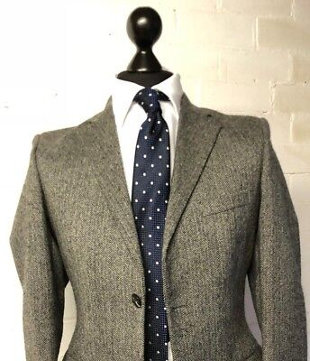 Vtg Tailored Austin Reed Suit Single Breasted Grey Herringbone Tweed 36r 30w 30l 69 99 Picclick Uk
