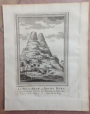 CEYLAN ADAM'S PEAK or SRI PADA 1749 BELLIN / VAN SCHLEY ANTIQUE ENGRAVED VIEW