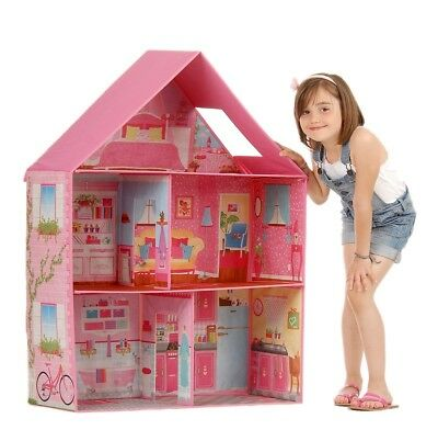 Large Doll House Barbie Dream House Girls Pink Pop Up Dollhouse Dolls Play Room
