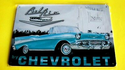 (Belair by Chevrolet) Metal Tin SIGN Home Garage 57 Chevy convertible plaque