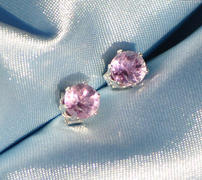 Round 6.0Mm --Natural Amethyst Studs Handcrafted  In Sterling Silver 2.00 Ctw