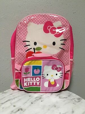 Hello Kitty Pink Polka Dots Girl's Little Girl Backpack + Detachable Lunch Bag