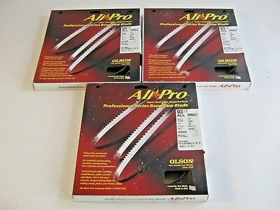 """Lot of 3 Olson All-Pro Band Saw Blades 93-1/2"""" inch x 1/2""""  3TPI 14"""" Delta, JET,"""