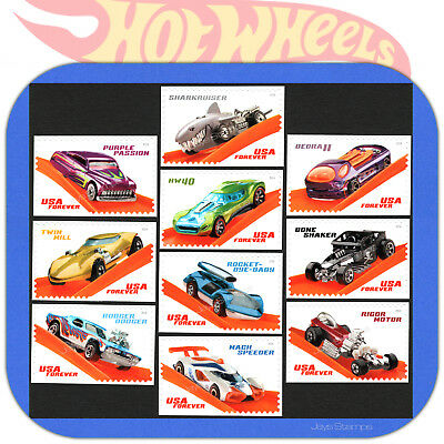 2018 HOT WHEELS Genuine USPS Forever®  SET of 10 MINT individual stamps #5321-30