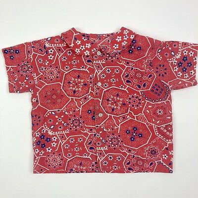 Vtg Short Sleeve Peter Pan Collar Button Up Shirt Red Floral Toddler 5