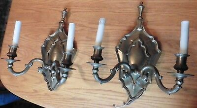 2 Brass Lamp Sconces double candle style electric vintage antique hall light