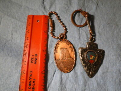 2-Vintage Wyoming Keychains Devil's Tower & Arrow Head Copper & Pewter