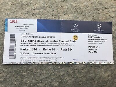 Biglietto Ticket Entrada Bsc Young Boys Juventus Champions League 2018/2019