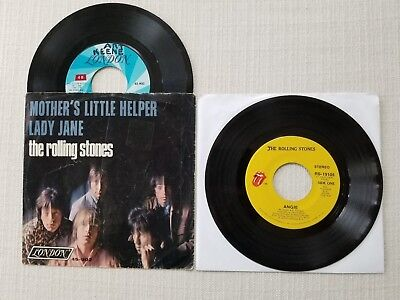 Rolling Stones  Angie  Mother's Little Helper Picture Sleeve Lot