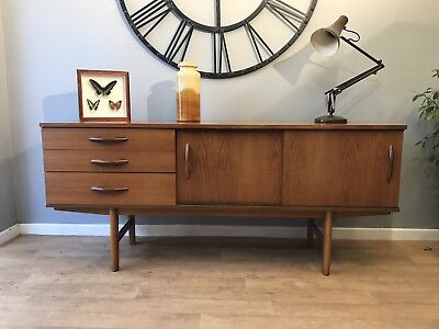Retro Vintage Mid Century Avalon Teak Sliding Door Sideboard Danish Style