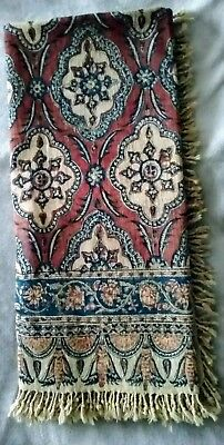 """Vintage Hand Woven Linen Tapestry Persian Block Print  ~Made in Iran 36""""X36"""""""