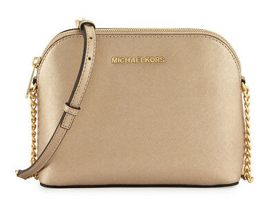 Michael Kors Cindy Dome Crossbody Bag Metallic Saffiano Leather Gold NEW in Pack