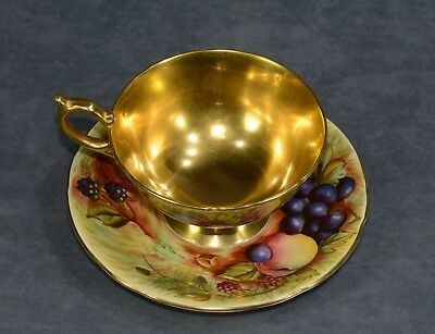 Vintage English Aynsley Gold Gilded Cup and Saucer Fruit Orchard-Both Signed!