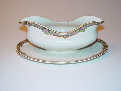 MYOTT PALM LEAF 1238/x Made In Staffordshire England Gravy Boat attached Plate
