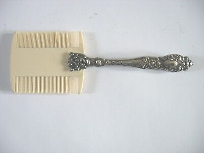 Antique Victorian Floral Repousse Sterling Silver handled Baby Hair Comb